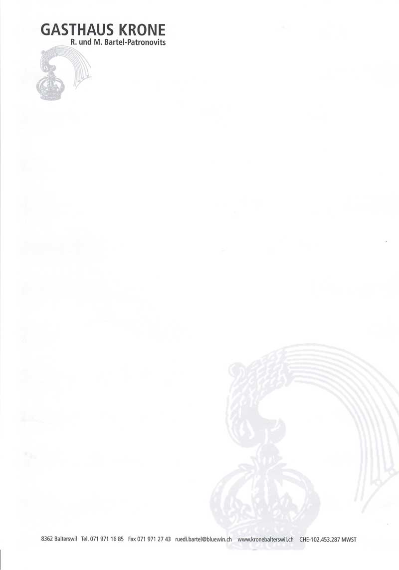 Briefpapier Restaurant Krone