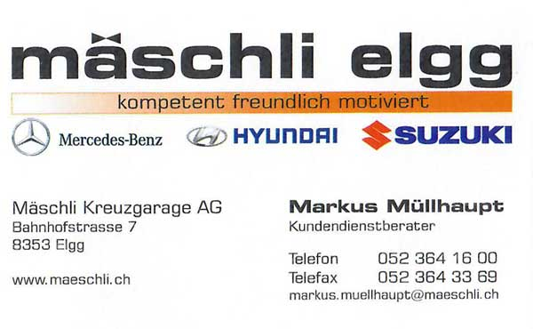 Visitenkarte Mäschli Autogarage
